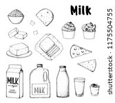 dairy produce hand drawn vector ... | Shutterstock .eps vector #1175504755