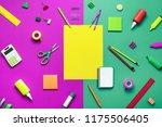 office supplies on a multi... | Shutterstock . vector #1175506405