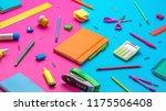 office supplies on a multi... | Shutterstock . vector #1175506408