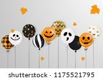 happy halloween. scary air... | Shutterstock . vector #1175521795
