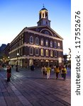Small photo of BOSTON, MA, USA - OCTOBER 24: Market place and meeting hall since 1742, the Faneuil Hall was the site of speeches by Samuel Adams and James Otis. Seen at dusk on October 24, 2012 in Boston, MA, USA.