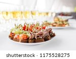 rye bread sandwiches  canapes ... | Shutterstock . vector #1175528275
