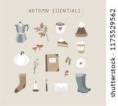autumn essentials. set of cute... | Shutterstock .eps vector #1175529562