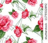 watercolor pink camellia... | Shutterstock . vector #1175532892