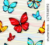 seamless bright butterfly... | Shutterstock .eps vector #1175538592