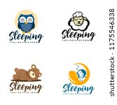 Stock vector night owl sheep teddy bear baby sleep icon logo design element 1175546338