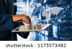 businessman using tablet... | Shutterstock . vector #1175573482