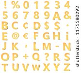 yellow gold alphabet with... | Shutterstock . vector #1175580292
