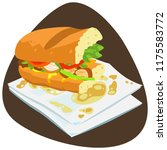 fajita sandwich leftovers with... | Shutterstock .eps vector #1175583772