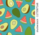 seamless pattern with avocado... | Shutterstock .eps vector #1175587168