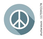 peace sign icon in flat long...