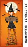 cute girl in a witchs suit... | Shutterstock .eps vector #1175613415