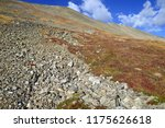 alpine scene while hiking and... | Shutterstock . vector #1175626618