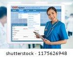 smiling female doctor in blue... | Shutterstock . vector #1175626948
