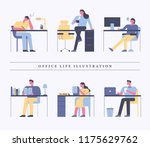 people doing various things at... | Shutterstock .eps vector #1175629762