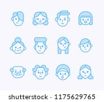 geometric outline face icons.... | Shutterstock .eps vector #1175629765
