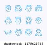 geometric outline face icons....   Shutterstock .eps vector #1175629765