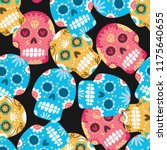 sugar skull seamless background | Shutterstock .eps vector #1175640655