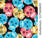 sugar skull seamless background   Shutterstock .eps vector #1175640655
