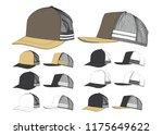 trucker cap template | Shutterstock .eps vector #1175649622