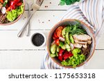 buddha bowl dish with chicken... | Shutterstock . vector #1175653318