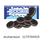 vector oreo cookie package and... | Shutterstock .eps vector #1175704525
