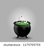 black witch steaming pot... | Shutterstock .eps vector #1175705755
