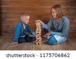 happy child and mother playing... | Shutterstock . vector #1175706862