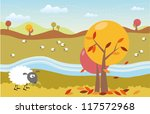 cartoon autumn landscape with... | Shutterstock . vector #117572968