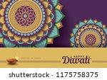 diwali festival greeting card...   Shutterstock .eps vector #1175758375