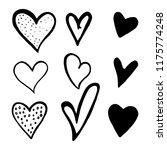 set of black hand drawn hearts...   Shutterstock .eps vector #1175774248