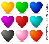 set of colored hearts isolated... | Shutterstock .eps vector #1175774362