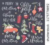 christmas lettering set with... | Shutterstock .eps vector #1175778892