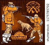 hunters with dogs   retro...   Shutterstock .eps vector #1175785702