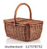 Picnic Basket  Isolated On White