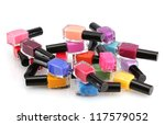 group of bright nail polishes... | Shutterstock . vector #117579052