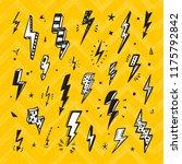 lightning bolts vector set.... | Shutterstock .eps vector #1175792842