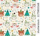 cute animal pattern with boho... | Shutterstock .eps vector #1175803168