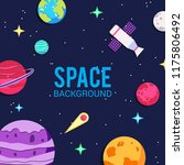papercut space background.... | Shutterstock .eps vector #1175806492