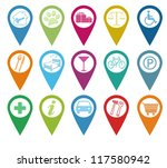 set of icons for markers on maps | Shutterstock . vector #117580942