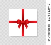 box  gift with a red bow.... | Shutterstock .eps vector #1175812942
