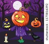 bogey with pumpkin lantern head.... | Shutterstock .eps vector #1175816392