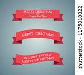 set of three red christmas... | Shutterstock .eps vector #1175818822