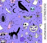 seamless pattern with magic and ... | Shutterstock .eps vector #1175825152