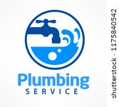 plumbing service logo in blue ... | Shutterstock .eps vector #1175840542