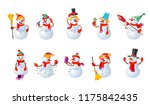 big set of cartoon snowmans.... | Shutterstock .eps vector #1175842435