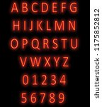 red neon alphabet on black.... | Shutterstock . vector #1175852812
