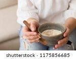 closeup of young woman's hands... | Shutterstock . vector #1175856685
