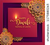 happy diwali festival card with ... | Shutterstock .eps vector #1175880265