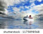 big cruise liner in an open sea....   Shutterstock . vector #1175898568